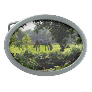 Black New Forest Pony & Forest Clearing U.K. Oval Belt Buckle