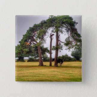Black New Forest Pony & Tree - Wild Horse, England Pinback Button