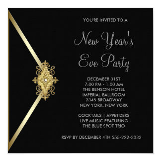 Black New Years Eve Party Custom Invitations