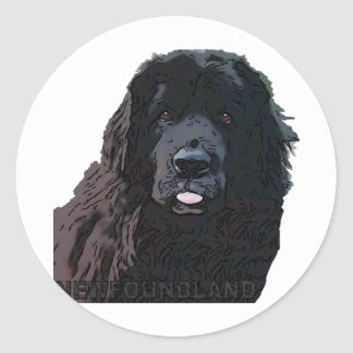 Black Newf Cartoon Classic Round Sticker