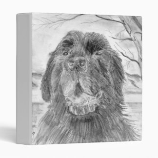 Black Newfoundland dog art 3 Ring Binder