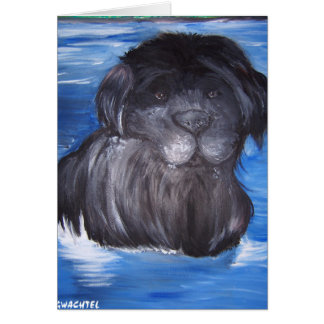 Black Newfoundland dog Card