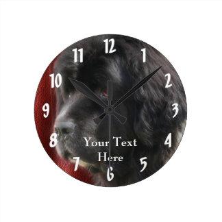 Black Newfoundland Dog Face Wall Clocks