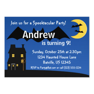 Black Night Bat and Moon Halloween Party Invite