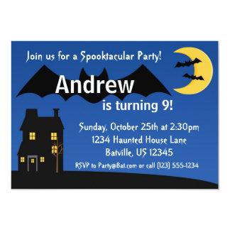 Black Night Bat and Moon Halloween Party Invite