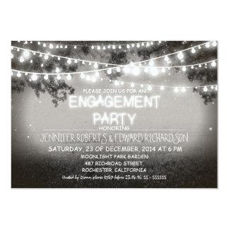 black night & garden lights engagement party card