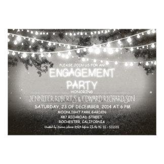black night garden lights engagement party custom announcements
