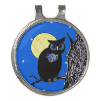 Black Night Owl on Branch Moon Stars Blue Sky Golf Hat Clip