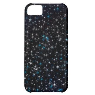 Black Night Sky Silver and Blue Sparkly Stars iPhone 5C Case