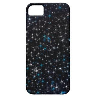 Black Night Sky Silver & Blue Sparkly Stars iPhone SE/5/5s Case