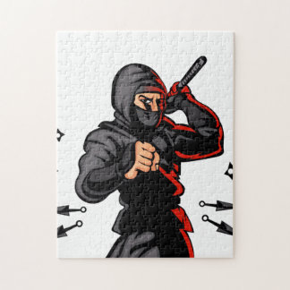 black ninja cartoon. jigsaw puzzle