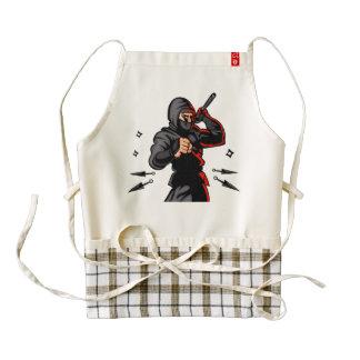 black ninja cartoon. zazzle HEART apron