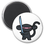 Black Ninja with Sword- No Words Refrigerator Magnets