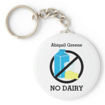 Black No Dairy Allergy Alert Kids Personalized Keychain