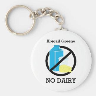Black No Dairy Allergy Alert Kids Personalized Keychain
