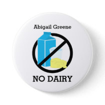 Black No Dairy Allergy Alert Kids Personalized Pinback Button