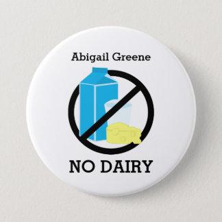 Black No Dairy Allergy Alert Kids Personalized Pinback Button