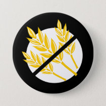 Black No Gluten or Wheat Allergy Alert Celiac Kids Button