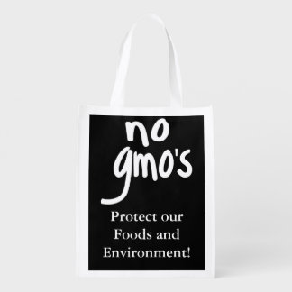 Black No GMO's Protect our Food Reusable Grocery Bag