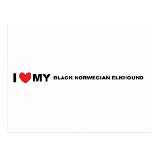black norwegian elkhound love postcard
