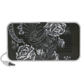 Black Nouveau Floral...speaker Travelling Speakers