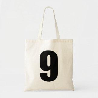 black number 9 on budget tote