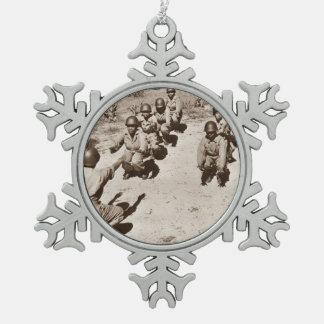 Black Nurses with Drill Instructor Snowflake Pewter Christmas Ornament