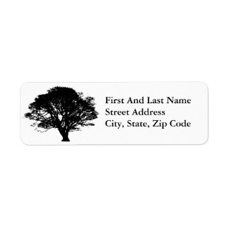 Black Oak Tree Design Label