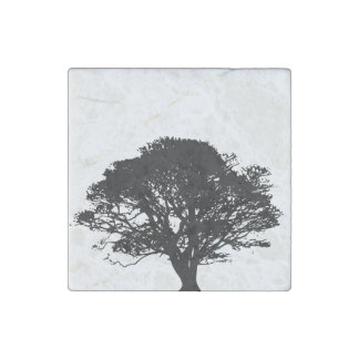 Black Oak Tree Design Stone Magnet