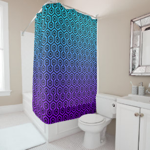 black and purple shower curtain. Black Octagon Pattern On Purple To Blue Gradient Shower Curtain Curtains  Zazzle