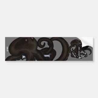 Black Octopus Over Anchor Bumper Sticker