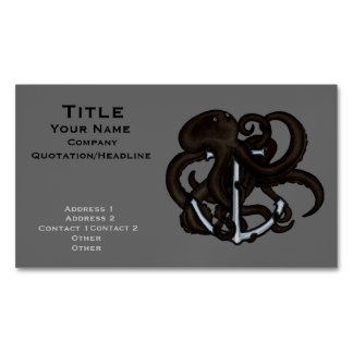 Black Octopus Over Anchor Business Card Magnet