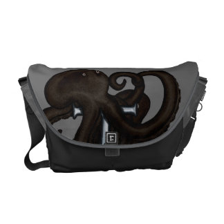 Black Octopus Over Anchor Courier Bag