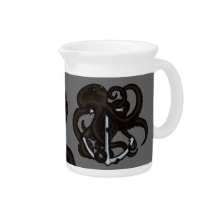 Black Octopus Over Anchor Drink Pitchers