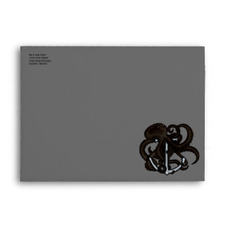 Black Octopus Over Anchor Envelope