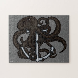 Black Octopus Over Anchor Jigsaw Puzzle