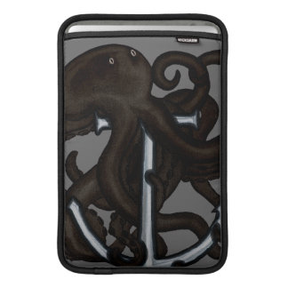 Black Octopus Over Anchor MacBook Sleeves