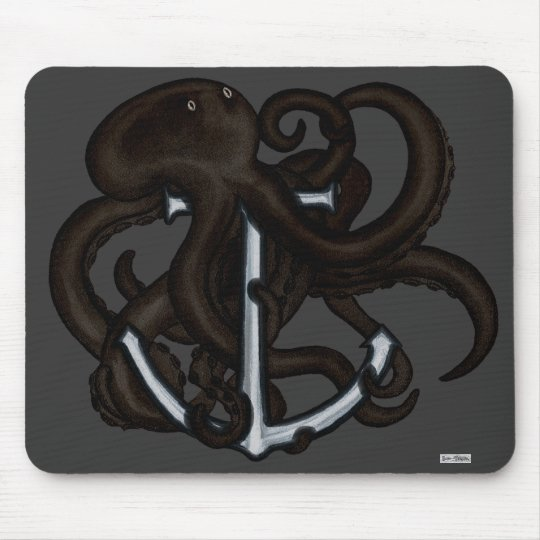 Black Octopus Over Anchor Mouse Pad
