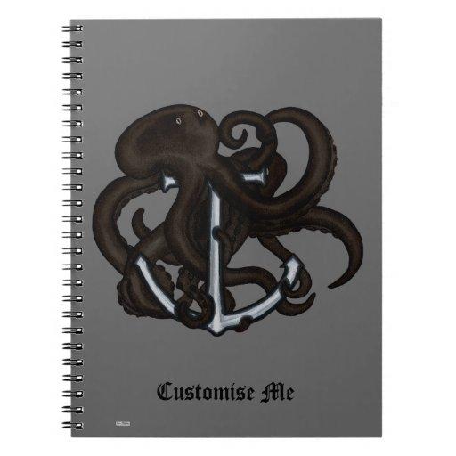 Black Octopus Over Anchor Notebook