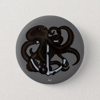 Black Octopus Over Anchor Pinback Button