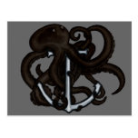 Black Octopus Over Anchor Post Card