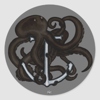 Black Octopus Over Anchor Classic Round Sticker