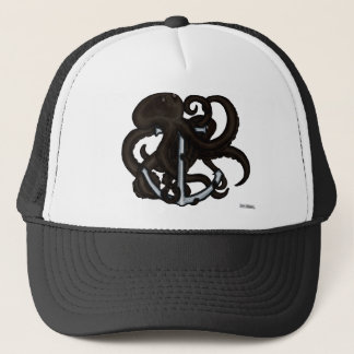 Black Octopus Over Anchor Trucker Hat