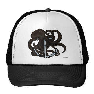 Black Octopus Over Anchor Trucker Hat
