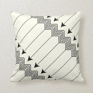 Black & Off White Arrow Herringbone Pattern Throw Pillow