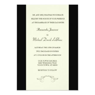 Black Off White Fleur de Lis Wedding Invitations