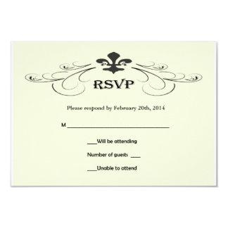 Black Off White Fleur de Lis Wedding RSVP Cards