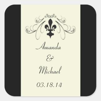 Black Off White Fleur de Lis Wedding Stickers
