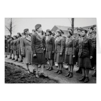 Black Officers Inspecting Troops WWII England Greeting Card