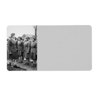 Black Officers Inspecting Troops WWII England Label